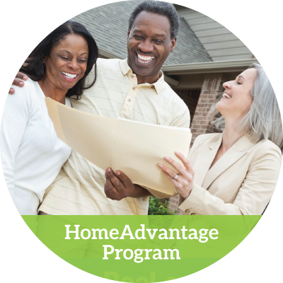 a realtor and an older couple laughing at some papers in a folder (homeadvantage program button)