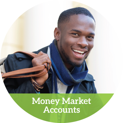 a smiling young man with a messenger bag slung over his shoulder (money market accounts button)