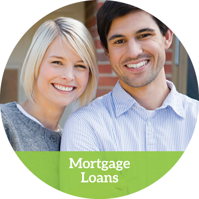 a happy smiling young couple in a mortgage loans button