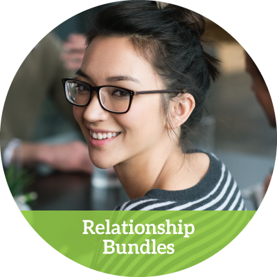 young smiling woman in glasses turning around (relationship bundles button)