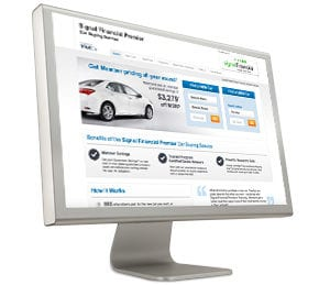 Computer screen showing an auto loan website