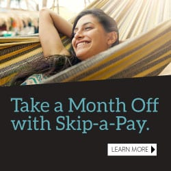Small icon showing a woman reclining in a hammock and the words Take a Month Off with Skip-a-Pay