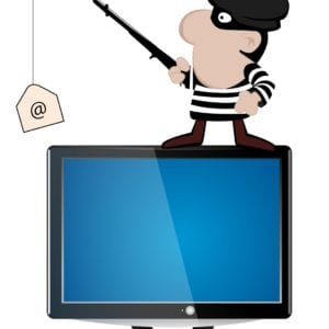 "Crook standing on computer ""fishing"" for passwords"
