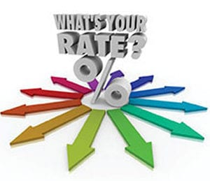 Multicolored Arrows determining rate percentage