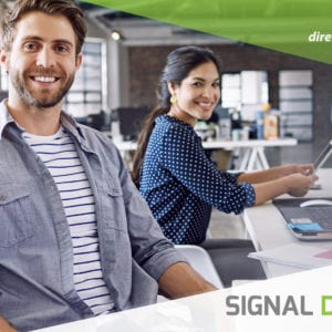 ad image of two professional people at work smiling