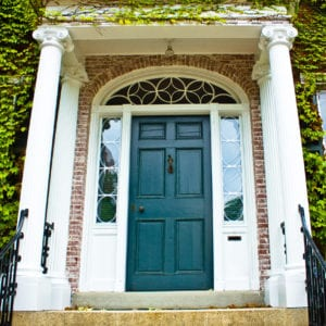 Front door on typical Colonial style home