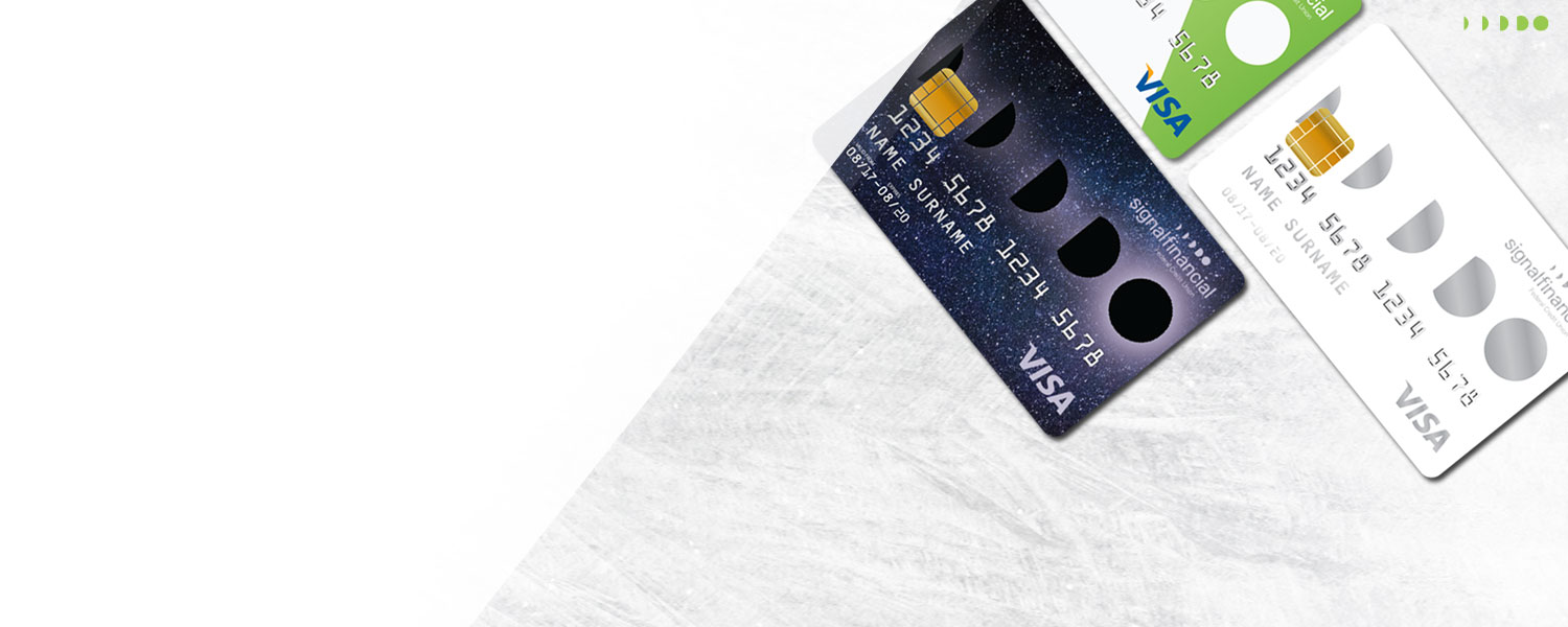 signal credit cards on a textured background