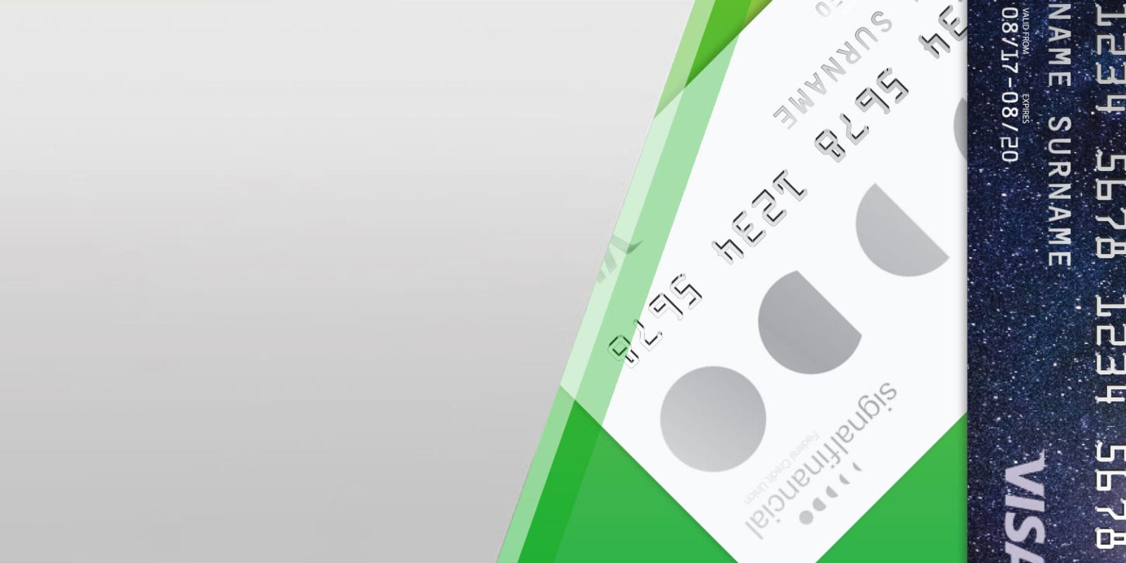 Credit card hero image showing three Signal credit cards fanned out on a green background