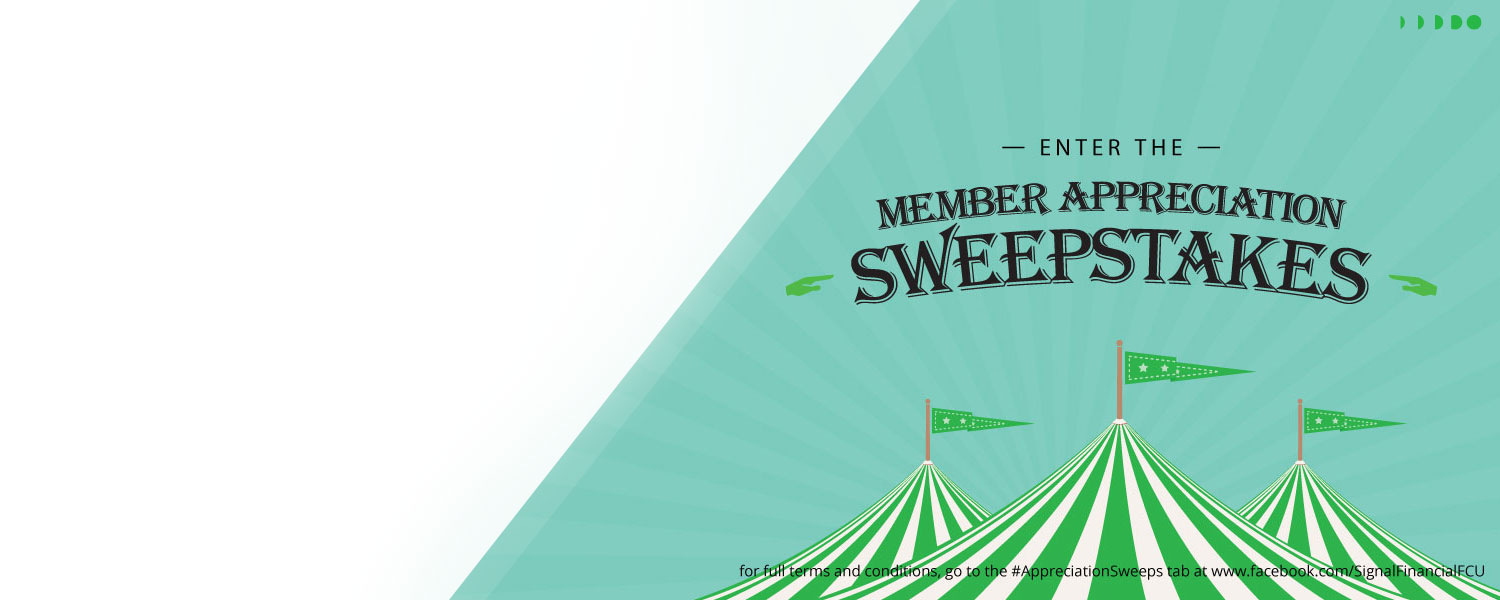 Slider graphic with circus tents and the words Member Appreciation Sweepstakes
