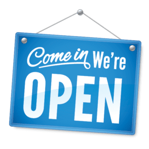 Come in were open hanging sign